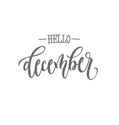 December lettering typography ink vector