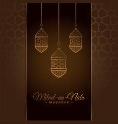 Decorative milad un nabi festival card design vector