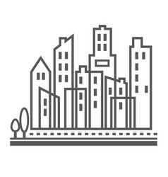 Downtown urban city buildings vector