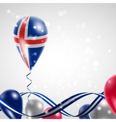Flag of Iceland on balloon vector