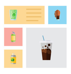 Flat icon soda set of carbonated soda cup and vector