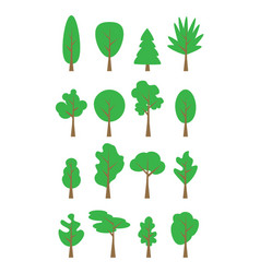 flat trees set flat forest tree nature plant vector image