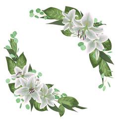 Floral bouquet design set tender white lily vector