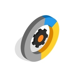 Gear wheels icon in isometric 3d style vector image