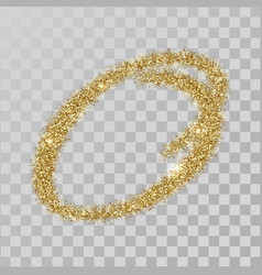 Gold glitter powder letter o in hand painted style vector