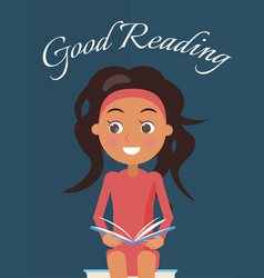 Good reading poster with brunette young girl vector