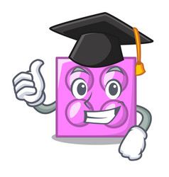 Graduation toy brick character cartoon vector