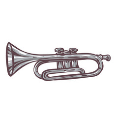 gray trumpet isolated on a white vector image