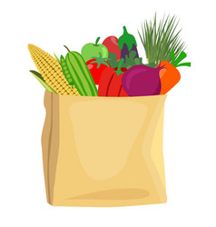 Grocery bag full of healthy fruits and vegetables vector