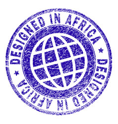 grunge textured designed in africa stamp seal vector image