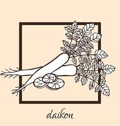 Hand drawn daikon vector