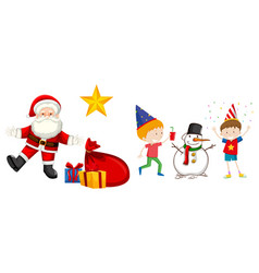happy children and santa claus vector image