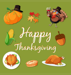happy thanksgiving element template vector image