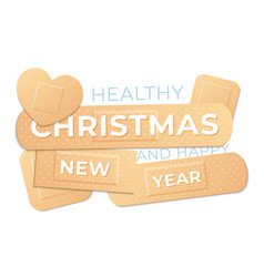 healthy christmas and happy new year medical vector image