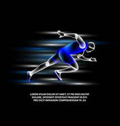 hologram running man on a black background vector image
