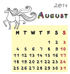 horse calendar 2014 august vector image