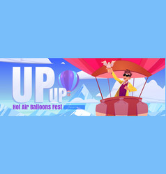 hot air balloons fest cartoon web banner travel vector image