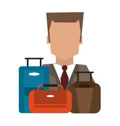 Hotel recepcionist with luggage vector
