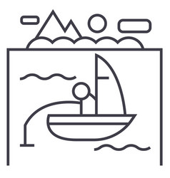 lake fishing on boat line icon sign vector image