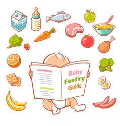 little baby reading food guide vector image