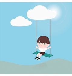 little boy on a swing hanging from cloud vector image