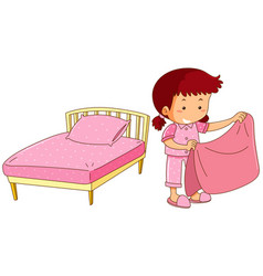 Little girl making bed vector