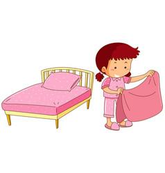 Little girl making bed vector