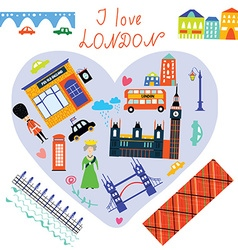 London love card with funny landmarks vector image