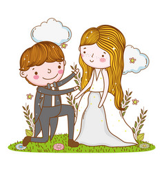 man and woman wedding with clouds and plants vector image