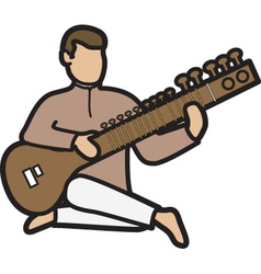 Man with sitar vector image