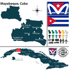 Map mayabeque cuba vector