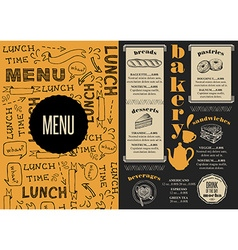Menu bakery restaurant food template placemat vector