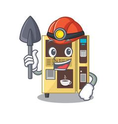 Miner coffee vending machine in a karakter vector