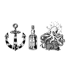 nautical anchor and glass bottle sea octopus and vector image
