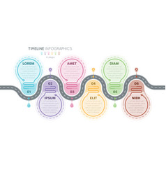 navigation map infographics 6 steps timeline vector image