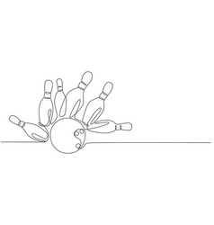 one single line drawing bowling pins falling vector image