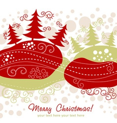 Ornate Christmas card with xmas trees vector image