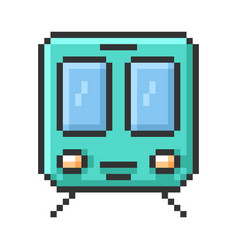 Outlined pixel icon train fully editable vector