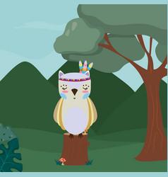 Owl cute hippie cartoon vector