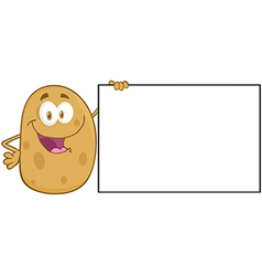 Potato Character Holding A Blank Sign vector