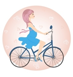 Pregnant girl in blue dress rides a Bicycle vector