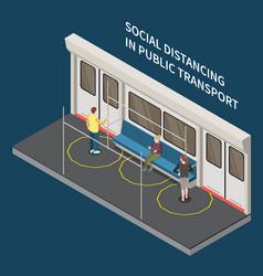 Public transport distancing composition vector