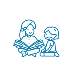 Reading fairy tales linear icon concept reading vector