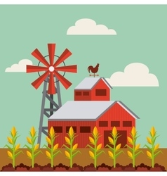 red barn and farm landscape vector image