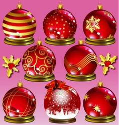 red ornaments vector image vector image