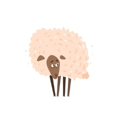 Sad Sheep Satanding Flat Cartoon vector image
