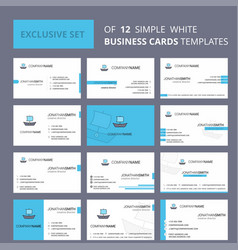 set of 12 boat creative busienss card template vector image