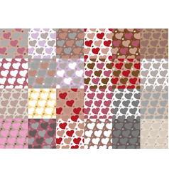 set of twenty four hearts seamless patterns set vector image