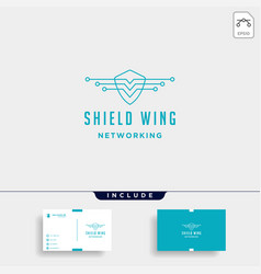 shield wings technology logo design internet vector image