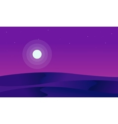 Silhouette of desert and full moon vector image